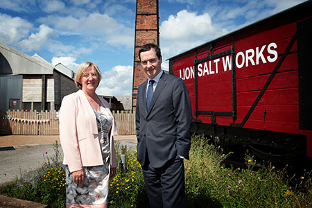 Chancellor George Osborne visits the Lion Salt Works Museum. The Museum is in a bid to become the UK most popular lottery-funded heritage site.The chancellor is pictured with leader of the council, Samantha Nixon.